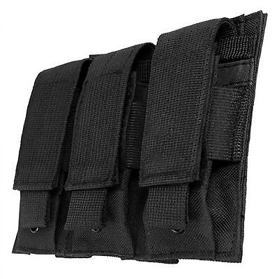 Black Triple MOLLE PALS 9mm 45 Pistol Mag Magazine Pouch Holster