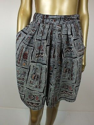 Vintage Shorts Aboriginal Art High Waist Rise Pleat Dress Shorts S 10