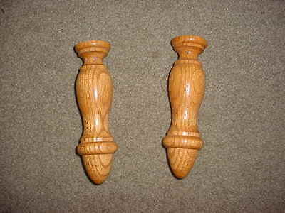 2 Reproduction Antique Carved Turned Oak NEWEL CORNER Finals TRIM Salvage
