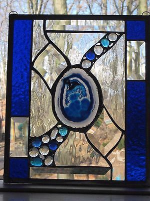 Stained glass panel window suncatcher with UNIQUE blue agate slice OOAK  BEAUTY!