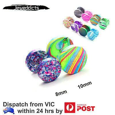 2-8 Pieces Fake Stretcher Ear Piercing Stud Earring Candy Colour Body Jewellery
