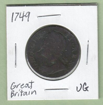 1749 Great Britain 1/2 Penny Coin - George II - VG