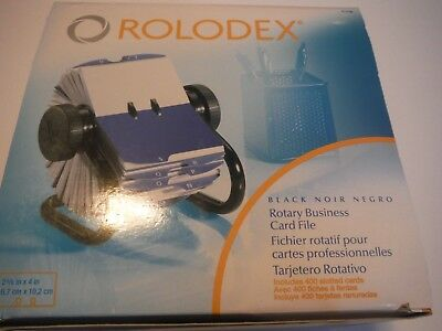 """New Rolodex, Rotary Business Card File With 2-5/8"""" x 4"""" Sleeves, Black, 67236"""