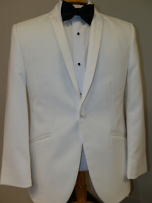 Jean Yves White Illusion 1 button Tuxedo Jacket Narrow Lapel Formal Wedding Prom