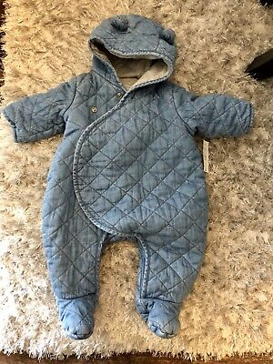 Baby Gap Quilted Chambray Bear One Piece