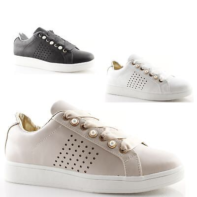 Sneakers donna basse bianche nere beige con perle borchie Scarpe Gold Gold 43b77aad549