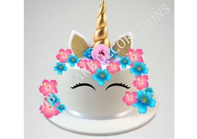 UNICORN CROWN SCENE STAND UP Cake Topper Edible Rice Paper Decoration Party