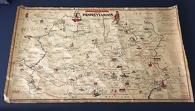 Vintage Oil Cloth Pennsylvania Historical Pictorial Wall Map 1955 Bair School
