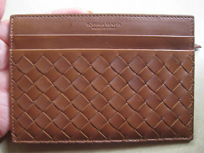 BOTTEGA VENETA INTRECCIATO LEATHER CARD CASE with zipper compartment