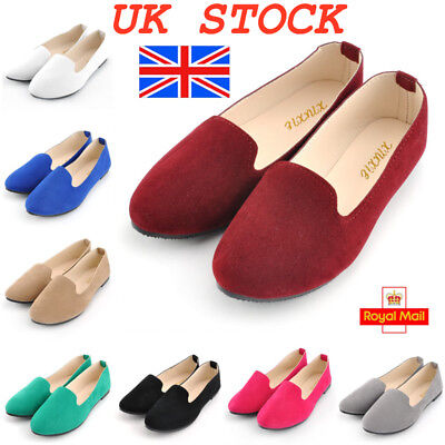 UK Womens Flat Ballet Ballerina Pumps Ladies Plain Casual Dolly Shoes Size 4-7