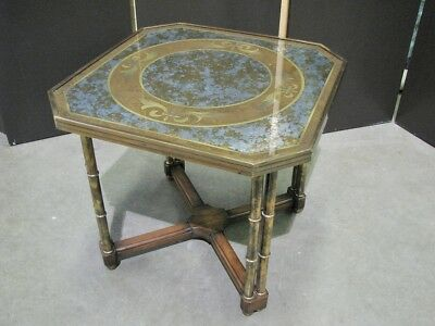 Vintage Brass & Wood Occasional Table With Reverse Painted on Glass Top; 1970