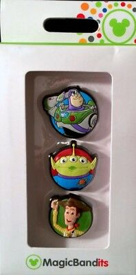 Disney Parks Toy Story Magic Bandits 3 Pack Magic Band Charms Woody, Buzz, Alien