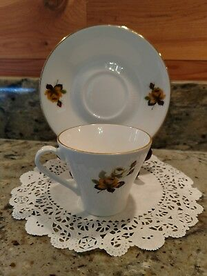 Vintage 1960's Figgjo Flint Porcelain #957 Tea Cup & Saucer Set Made In Norway