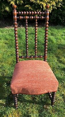 Antique Wooden Chair - Bobbin Turned Wood -  Very Old Good Vintage Condition
