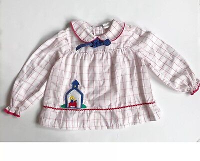 Vintage Toddler Top/ Dress Red White Checkered Novelty School House 4T