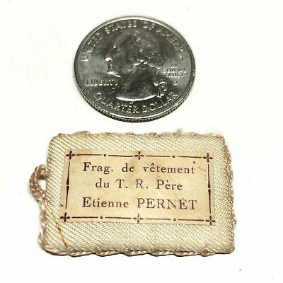 👑 St. Etienne Pernet -VINTAGE Pocket reliquary HOLY CARD w/ 2nd class Relic