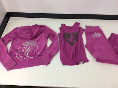 Juicy Couture 3 Piece Tracksuit Hoodie Bottoms T Shirt Age 10  Large L  Velour