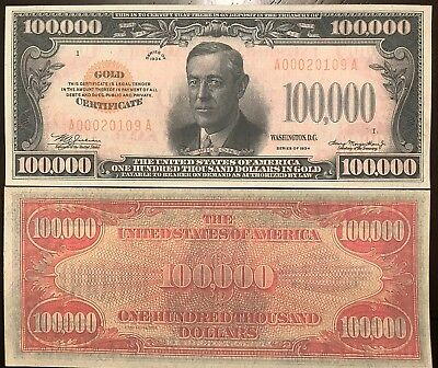 Reproduction 1934 $100,000 Gold Certificate Read Description Below In Listing