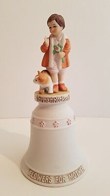 Flowers for Mother Ceramic Bell Norman Rockwell Children Series 1977 Mothers Day