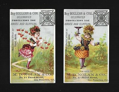 The Cherry Lady & The Grape Lady-2 Colorful Victorian Trade Cards-San Francisco