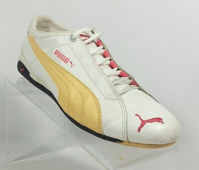 PUMA SOLEIL V2 Athletic Shoes White Blue Leather Lace Up Womens Size ... 47853fff1