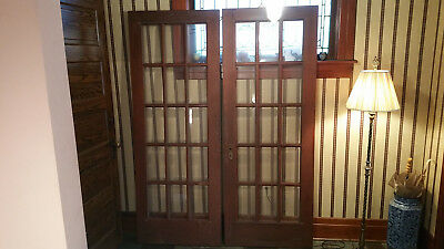 Antique Vintage Wood French Doors beveled glass Brass Hardware