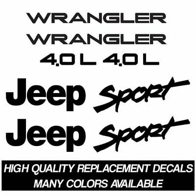 1997-2002 Jeep Wrangler Sport 4.0L Replacement Decal Kit for Fenders TJ Stickers