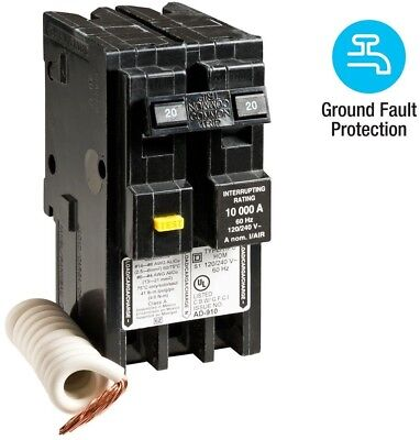 Square D Circuit Breaker 20 Amp 2-Pole Ground Fault GFCI Homeline HOM220GFI New