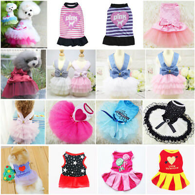 Hot Various Pet Puppy Small Dog Cat Vest Lace Strip Dress Apparel Clothes Shirt