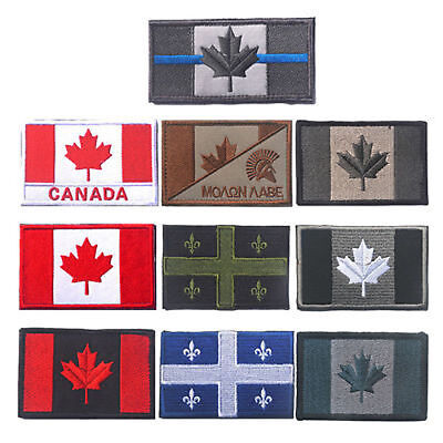 CANADA Flag Embroidered Patch Motorcycle Tactical Morale Sew On National Emblem