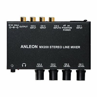 ANLEON MX200 Stereo Line Mixer four channel mixer, microphone XLR RCA inputs