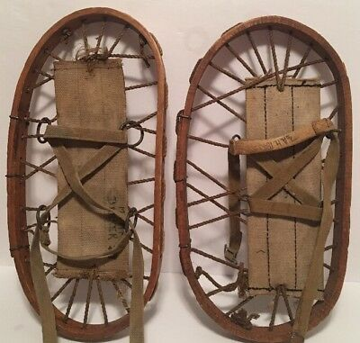 Vintage 1940's Canadian Army WWII Era Military Rescue Wood Snow Shoes RARE