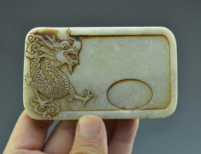 Stunning Chinese Ancient Jade High Relief Carved Dragon Pattern Inkslab