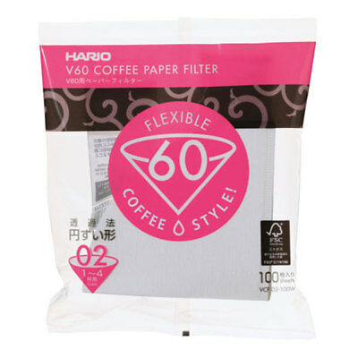Hario V60 Dripper 02 Pour Over Cone Coffee Drip Paper Filters - 100 White Sheets