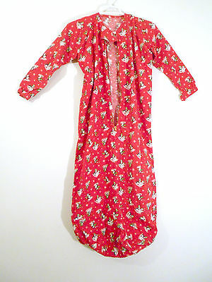 Vtg 50s 60s Childrens Red Flannel PAJAMAS Sleep Sack Gown Zipper Front Snowman