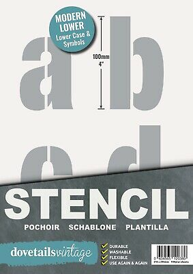 "VERY LARGE STENCIL LETTERS SYMBOLS 100mm tall (4"") 9 x Sheets Modern LOWER CASE"