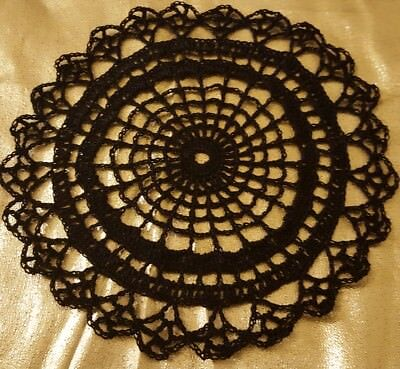 Black Spider Web Doily Approximately 9 Inches