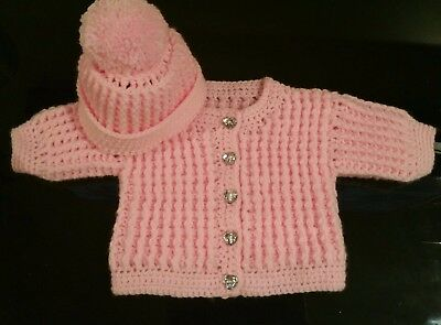 30ece7d1a7eb CROCHET BABY CARDIGAN and hat set 9-12 months. - £14.00