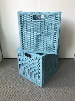 2 Ikea Branäs Expedit Kallax Blue Storage Baskets