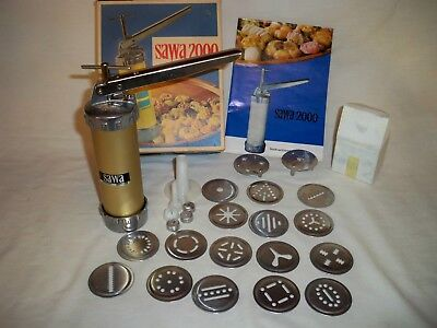 Sawa 2000 Cookie Press 18 Discs and Tip Cooky Pastry Recipe Guide Sweden