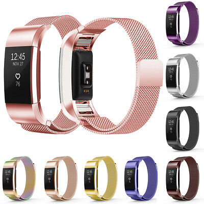 Magnetic Milanese Loop Stainless Steel Mesh Watch Band Strap For Fitbit Charge 2