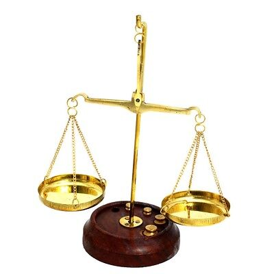 Brass copper authentic Libra scale with 7 brass weights vintage gift from Israel