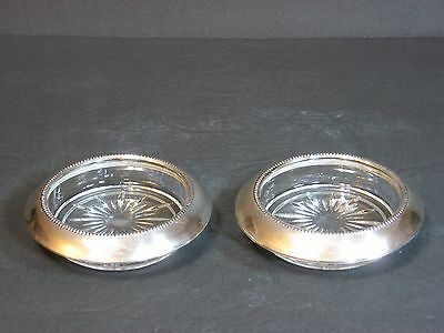 """FRANK M WHITING Sterling Silver & Glass Coasters Set of 2 Marked 4"""" Vintage EUC!"""