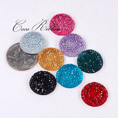 20mm 16pc Mixed Round Rhinestone Sparkle Flatback Resin Cabochon-8 Colours D02