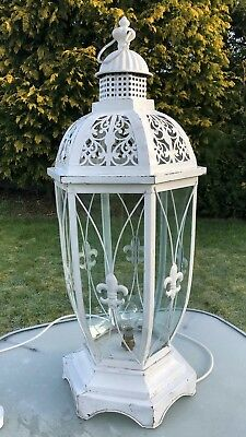 Large Beautiful Antique Vintage Metal and Glass Electric Lantern