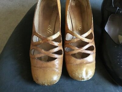 1920s 30s original 2 pair ,black ,camel,leather Shoes size 9