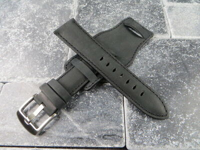 German Military Aviator Watch Strap Army Leather Cuff Watch Band Bund Black BK X