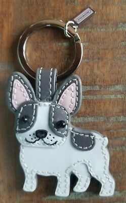 Coach FRENCH BULLDOG Frenchie Patent Leather Key Chain Ring Fob Purse Charm NWOT
