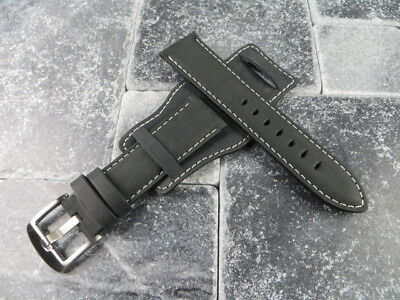 German Military Aviator Watch Strap Army Leather Cuff Watch Band Bund Black WH X