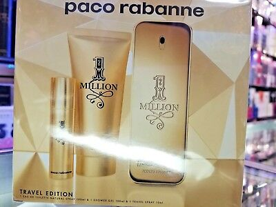 ONE MILLION Paco Rabanne 3 Piece 3.4 oz EDT TRAVEL EDITION Gift Set for Him Men